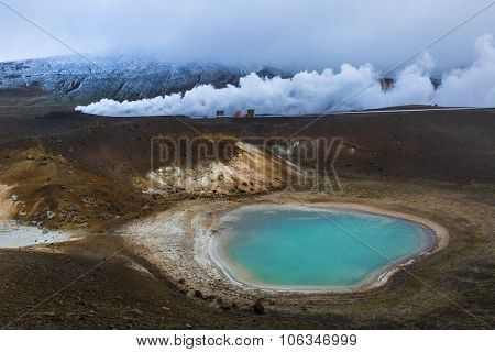 Viti Is A Beautiful Crater Lake Of A Turquoise Color Located On The North-east At Krafla Geothermal