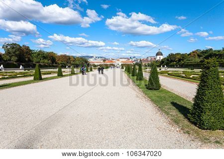 Paths To Lower Palace In Belvedere Garden, Vienna