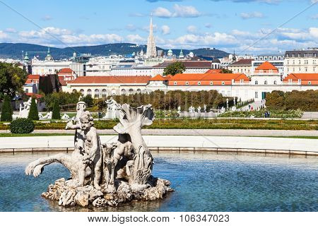 Statue And View Of Lower Belvedere Palace, Vienna