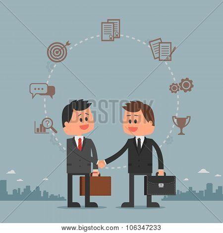 Business concept vector illustration in flat cartoon style. Men shaking hands. Businessmen making a
