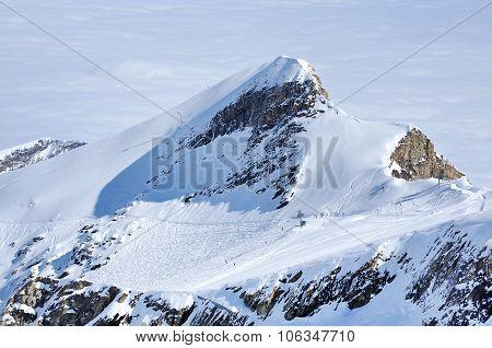 Alpine Ski Piste And Slopes In The Alps