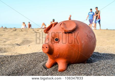 Piggy Bank on the Sand Beach