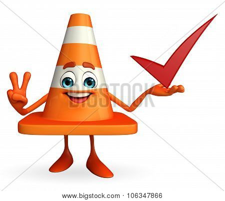 Construction Cone Character With Right Sign