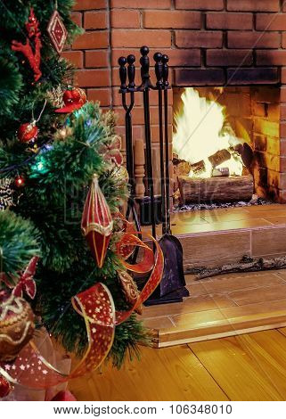 Christmas Eve By Fireplace