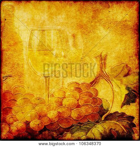 Wine In Glass On Vintage Grunge Paper