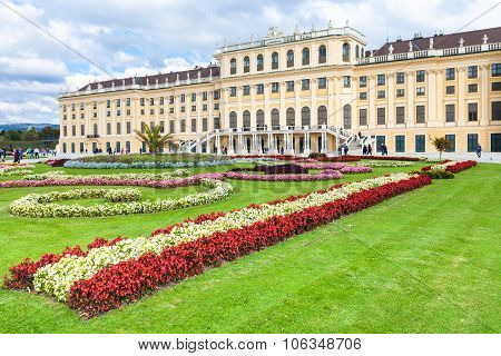 Flowerbed In Garden Of Schloss Schonbrunn Palace