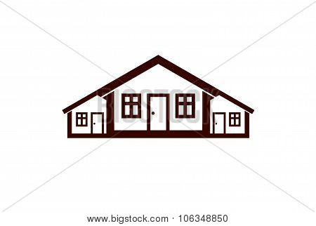 Colorful Holiday Vector Houses Illustration, Home Image. Touristic And Real Estate Creative Emblem,