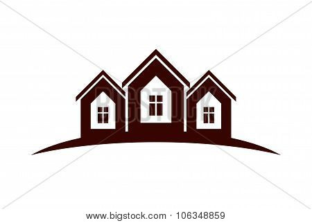 Abstract Vector Houses With Horizon Line. Can Be Used In Advertising And Branding As A Corporate Sym