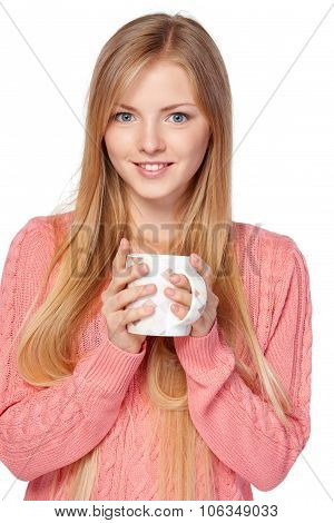 Woman holding a cup