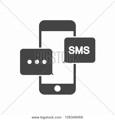 SMS on mobile phone with bubbles. Vector
