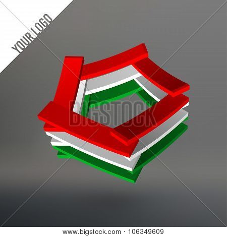 Abstract logo. Pentagon as leaves stacked. Planks stacked in a circle pentagon. Logo in the colors o