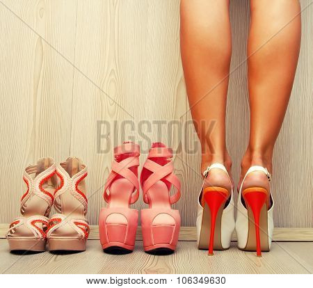 Woman Trying On Her Shoes