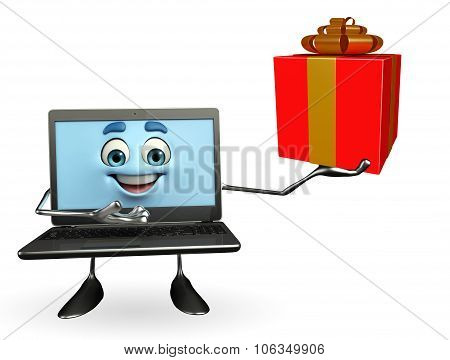 Laptop Character With Gift Box