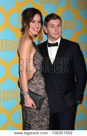 LOS ANGELES - JAN 11:  Charlie Webster, Allen Leech at the HBO Post Golden Globes Party at a Beverly Hilton on January 11, 2015 in Beverly Hills, CA
