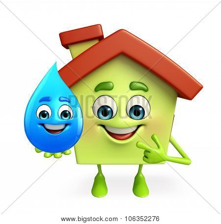 House Character With Water Drop