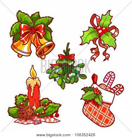Set Of Vector Christmas Decorations. Candle, Holly, Mistletoe, Bells, And Sock With Candy