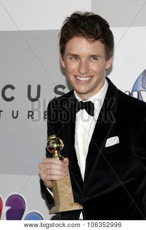 LOS ANGELES - JAN 11:  Eddie Redmayne at the NBC Post Golden Globes Party at a Beverly Hilton on January 11, 2015 in Beverly Hills, CA