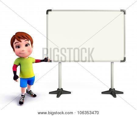 Cute Boy With Display Board