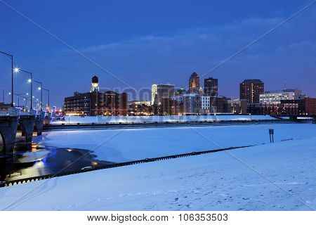 Des Moines Skyline Across Frozen River