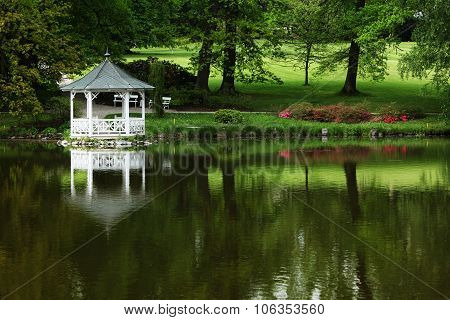 White Gazebo On The Water