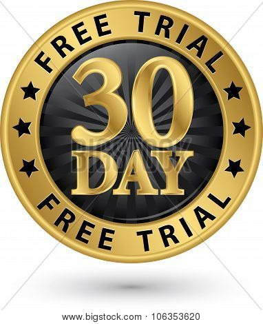 30 Day Free Trial Golden Label, Vector Illustration