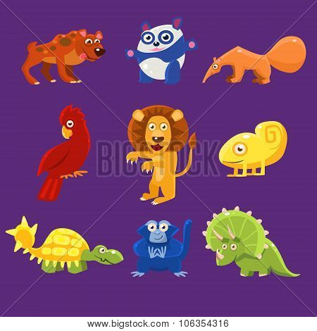 Africa Animals with Emotions, Vector Illustration