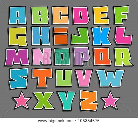 Graffiti Floating Vector Color Fonts Alphabet Over Gray