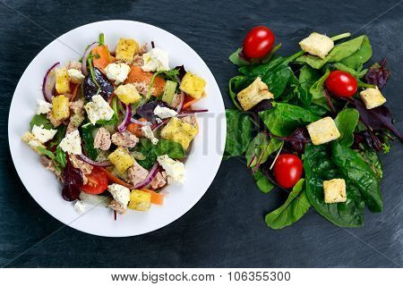 Tuna Salad With Spinach, Rocket, Red Ruby Chard, Tomatoes, Cucumbers, White Cheese, Carrot, Red Onio