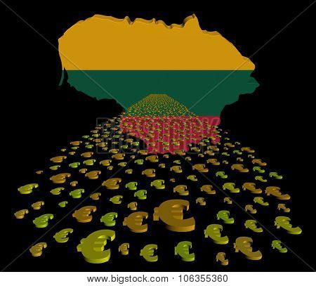 Lithuania map flag with euros foreground illustration