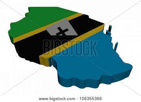 Tanzania election map with ballot paper illustration