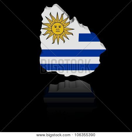 Uruguay map flag with reflection illustration