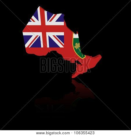Ontario map flag with reflection illustration