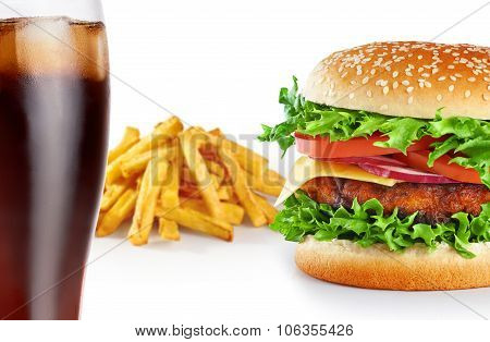 Hamburger With Fries And Cola Isolated On White Background.