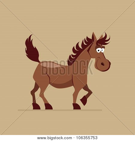 Cute Smiling Horse Vector Illustration
