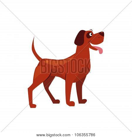 Standing Brown Dog with a Spot on Ear. Vector Illustration