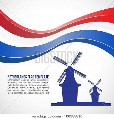 Netherlands flag wave and Netherlands Wind MILL