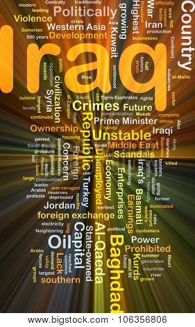 Background concept wordcloud illustration of Iraq glowing light