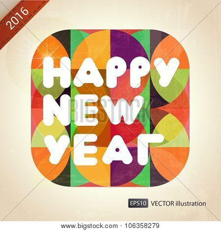 Happy New Year composition. Vector illustration.