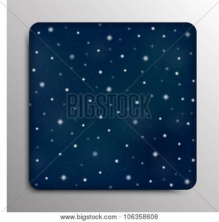 Vector square frame background. Starry night sky. Stars, sky, night.