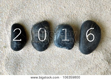 New Year 2016 On Pebbles