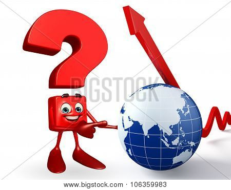 Question Mark Character With Globe And Arrow