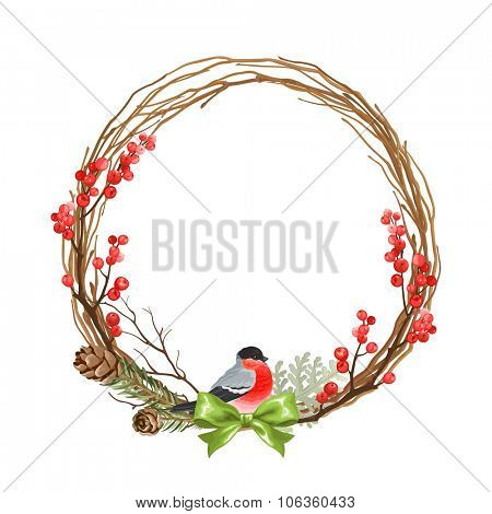 Christmas wreath with bullfinch, dry branches, winter red berries, pine cones and green bow.
