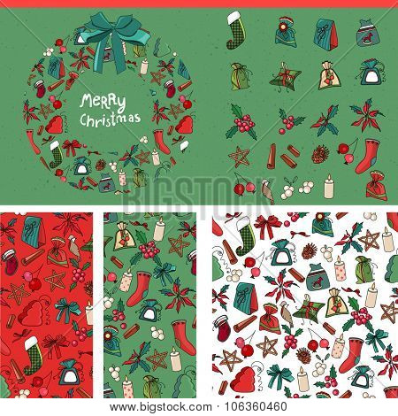 Set with traditional Christmas templates. For festive design, announcements, postcards, posters.