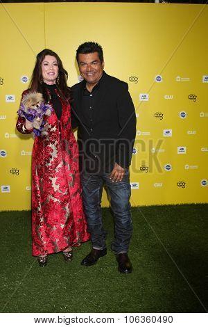 LOS ANGELES - JAN 10:  Lisa Vanderpump, Giggy, George Lopez at the CW Network presents