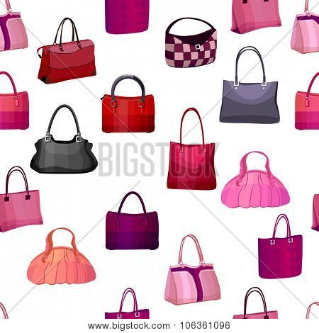 Seamless pattern with woman bags.  Endless texture for your design, announcements, postcards, posters.