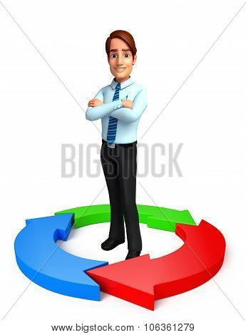 Young Service Man With Circle Graph