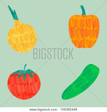 Colorful Vector Felt Tip Marker Pen Vegetable Set