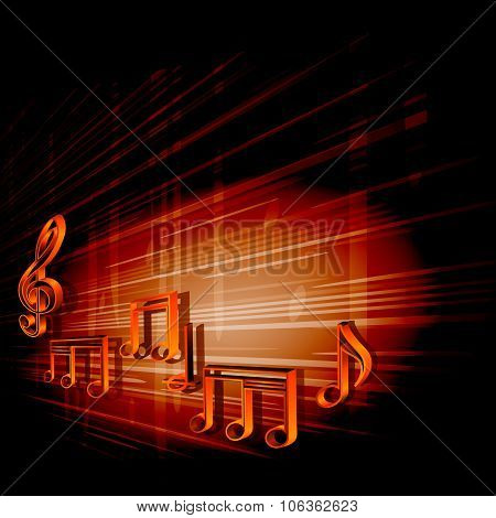 Dark Background With Notes And Treble Clef
