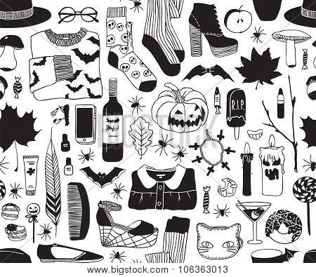 Halloween black and white pattern.