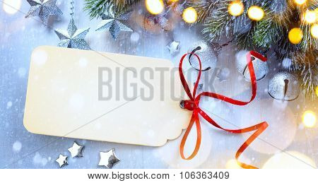 Art Christmas Background With A Christmas Light, Christmas Stars, Berries And Fir In Snow